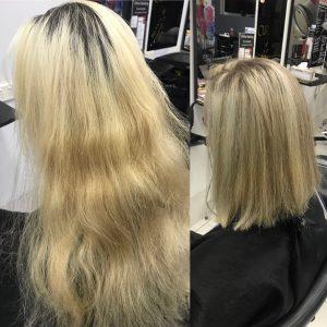 Before and after blonde hair cut and root treatment- Keturah Hair Design-hair salon Browns Plains 0448749647.