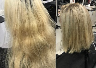 Before and after blonde hair cut and root treatment- Keturah Hair Design-hair salon Browns Plains 0448749647.