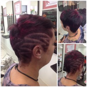 Before and after cut and colour with hair tattoo- Keturah Hair Design-hair salon Browns Plains 0448749647.