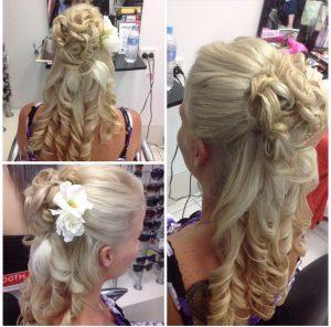 Blonde long hair with up do and long curls- Keturah Hair Design-hair salon Browns Plains 0448749647.