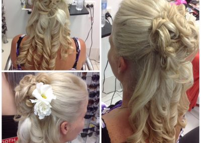 Blonde long hair with up do and long curls- Keturah Hair Design-hair salon Browns Plains 0448749647.