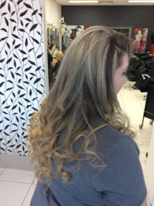 Long dark brown hair with golden blonde colours- Keturah Hair Design-hair salon Browns Plains 0448749647.