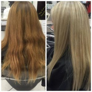 Long light copper hair coloured to copper blonde- Keturah Hair Design-hair salon Browns Plains 0448749647.