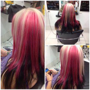 Multi layered colouring of blonde-pink to dark brown- Keturah Hair Design-hair salon Browns Plains 0448749647.