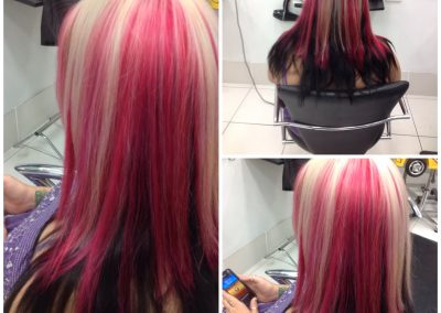 Multi layered colouring of blonde-pink to dark brown- Keturah Hair Design-hair salon Browns Plains 0448749647.