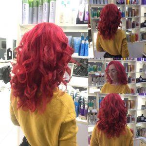 Pink hair colour with curls- Keturah Hair Design-hair salon Browns Plains 0448749647.
