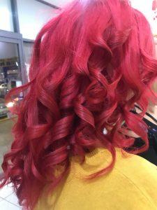 Pink shoulder length curly hair- Keturah Hair Design-hair salon Browns Plains 0448749647.