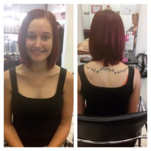 Shoulder length style cut with red colouring- Keturah Hair Design-hair salon Browns Plains 0448749647.