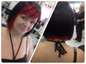 Style cut and two colours-black and red- Keturah Hair Design-hair salon Browns Plains 0448749647.