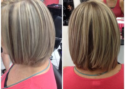 before and after style cut with lighter hair colour- Keturah Hair Design-hair salon Browns Plains 0448749647.