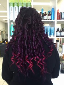 long curly dark purple hair with pink tips- Keturah Hair Design-hair salon Browns Plains 0448749647.